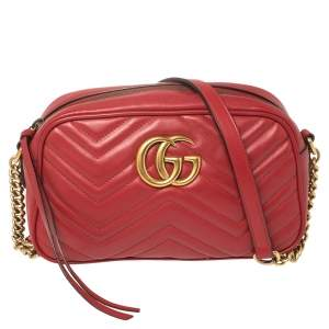 Gucci Red Matelassé Leather Small GG Marmont Shoulder Bag