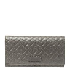 Gucci Grey Microguccissima Leather Continental Wallet