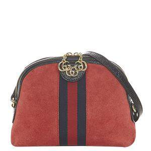 Gucci Red Suede Ophidia Small Crossbody Bag