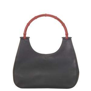 Gucci Black/Red Leather Bamboo Shoulder Bag