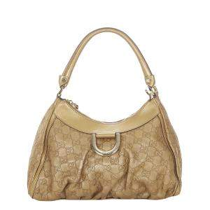 Gucci Gold Guccissima Leather Abbey D-Ring Hobo Bag