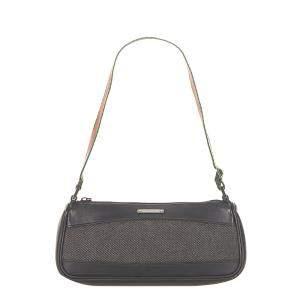 Gucci Black Web Denim Baguette Bag