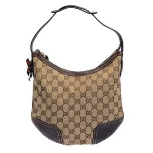 Gucci Beige/Brown GG Canvas and Leather Small Princy Hobo