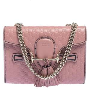 Gucci Pink Microguccissima Leather Mini Emily Crossbody Bag