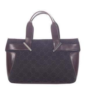 Gucci Brown/Dark Grey Denim Tote Bag