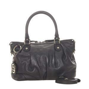 Gucci Blue Guccissima Leather Sukey Satchel Bag