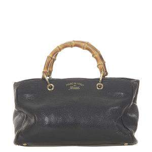 Gucci Black Leather Bamboo Shopper Tote Bag