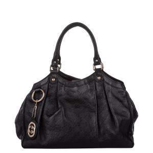 Gucci Black Guccissima Leather Sukey Tote Bag
