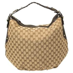Gucci Beige/Brown GG Canvas and Leather Medium Pelham Hobo