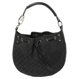 Gucci Black GG Canvas and Leather Drawstring Hobo