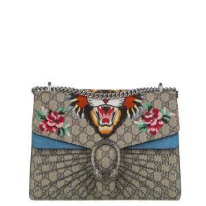 Gucci Brown/Blue GG Supreme Canvas Tiger Printed Dionysus Shoulder Bag