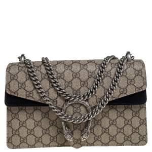 Gucci Beige/Black GG Supreme Canvas and Suede Small Dionysus Shoulder Bag