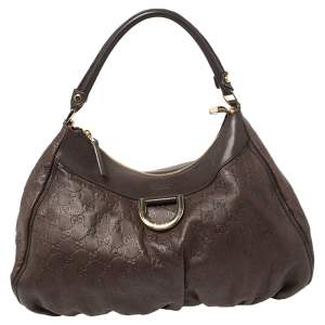 Gucci Chocolate Brown Guccissima Leather Small D-Ring Hobo
