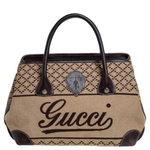Gucci Brown/Beige Canvas and Leather Medium Diamond Blazon Tote