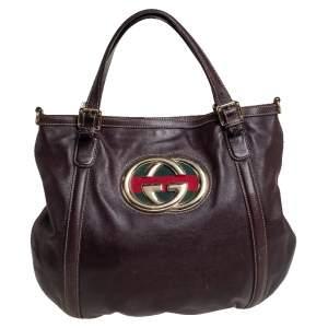 Gucci Dark Brown Leather GG Britt Tote
