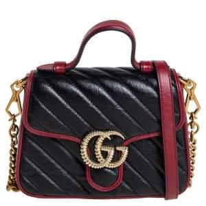 حقيبة غوتشي يد علوية مارمونت جى جى مينى جلد مبطنة تخطيط مائل سوداء