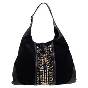 Gucci Black Suede And Leather Large Jackie O Bouvier  Embellished Hobo