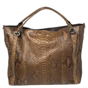 Gucci Brown Python Large Miss GG Tote