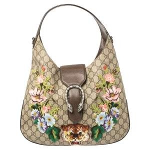 Gucci Beige/Ebony GG Supreme Coated Canvas and Leather Embroidered Medium Dionysus Hobo