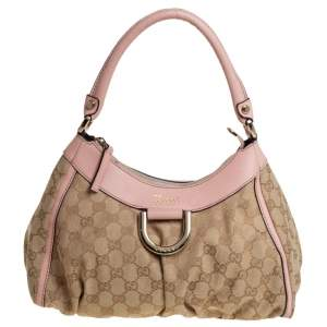 Gucci Beige/Pink GG Canvas and Leather Abbey D-Ring Hobo
