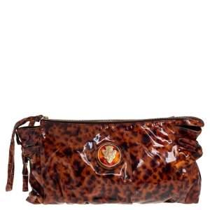 Gucci Brown Leopard Print Patent Leather Large Hysteria Clutch