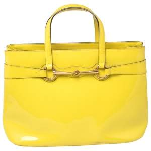 Gucci Yellow Patent Leather Medium Bright Bit Tote