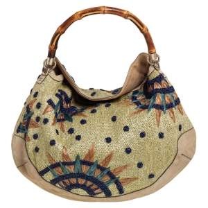 Gucci Beige Suede and Raffia Embroidered Peggy Bamboo Hobo