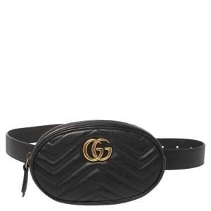 حقيبة حزام غوتشي مارمونت جي جي جلد مبطن أسود