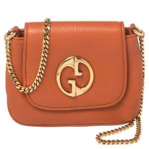Gucci Orange Leather Small 1973 Crossbody Bag
