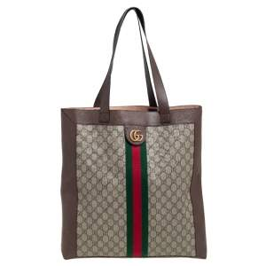 Gucci Beige/Ebony GG Supreme and Leather Large Ophidia Tote