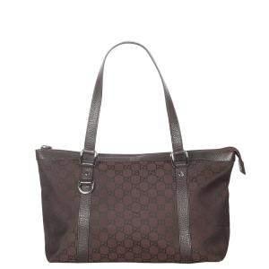 Gucci Brown/Dark Brown Canvas Abbey Tote Bag