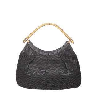 Gucci Black Leather Bamboo Clutch Bag