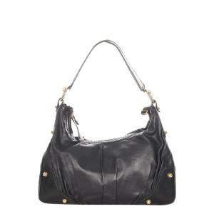 Gucci Black Leather Jockey Hobo Bag