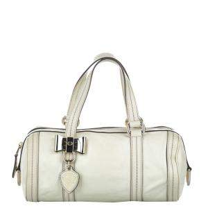 Gucci White Leather Duchessa Shoulder Bag