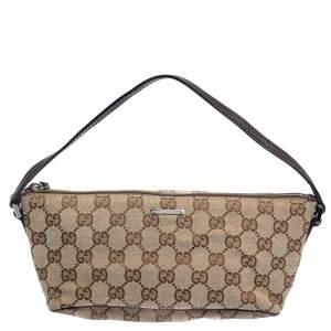 Gucci Beige GG Canvas and Leather Boat Pochette Bag