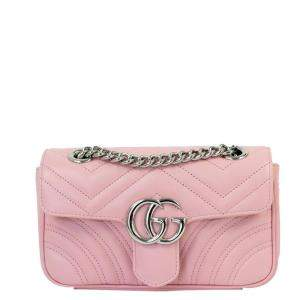 Gucci Pink Leather GG Marmont Shoulder Bag