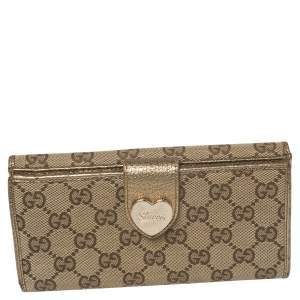 Gucci Beige/Metallic GG Canvas and Leather Continental Wallet