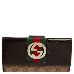Gucci Beige/Ebony GG Canvas and Leather Web Continental Wallet