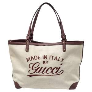 Gucci Brown/Beige Canvas and Leather Medium Craft Tote