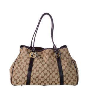 Gucci Beige/Brown GG Canvas Twins Tote Bag