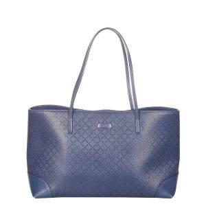 Gucci Blue Diamante Bright Leather Tote Bag