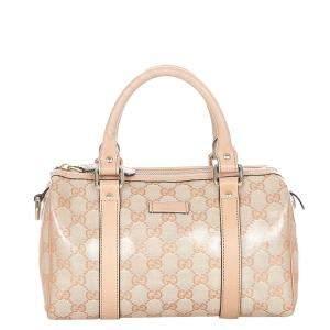 Gucci Pink GG Crystal Canvas Joy Boston Bag