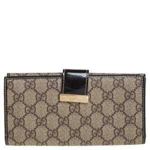 Gucci Beige/Brown GG Supreme Canvas and Patent Leather Continental Wallet