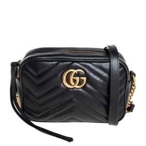 Gucci Black Matelassé Leather Mini GG Marmont Camera Crossbody Bag