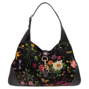 حقيبة هوبو غوتشي جاكي أو بوفير جلد وكانفاس طباعة أزهار متعددة الألوان