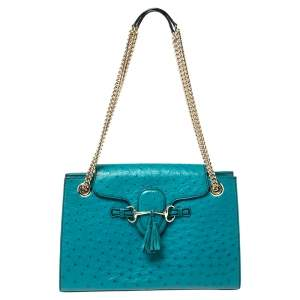 Gucci Teal Green Ostrich Large GCC Exclusive 7/10 Emily Chain Shoulder Bag