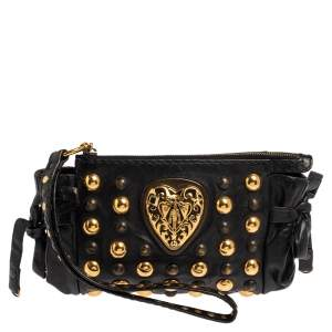 Gucci Black Leather Hysteria Studded Wristlet Clutch