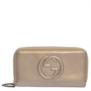 Gucci Metallic Beige Leather Soho Zip Around Organizer Wallet
