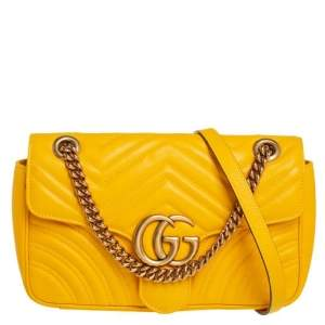 Gucci Yellow Matelasse Leather Small GG Marmont Shoulder Bag