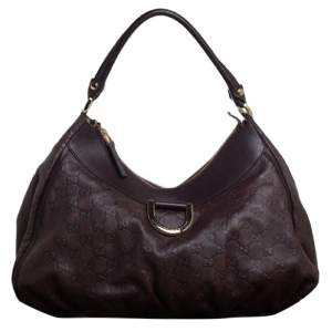 Gucci Dark Brown Guccissima Leather Large D Ring Hobo